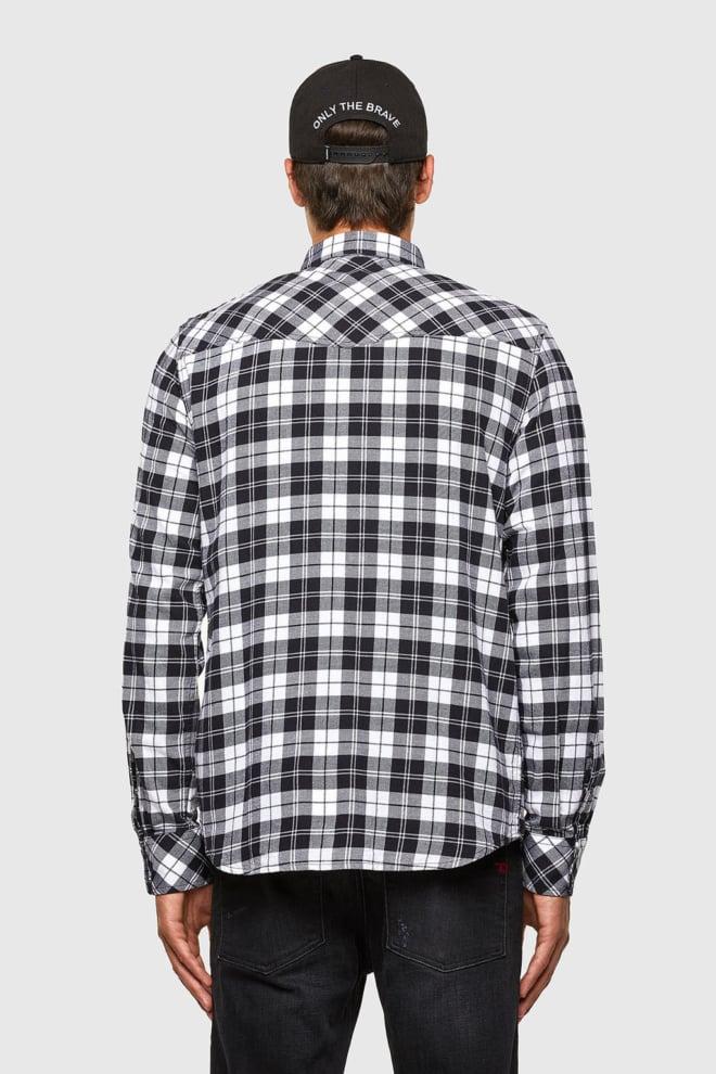 Diesel s-east-long-chk overhemd zwart/wit - Diesel