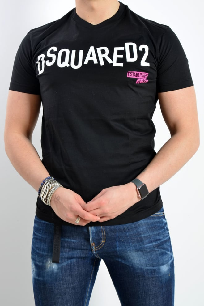 Dsquared t-shirt zwart logo wit - Dsquared