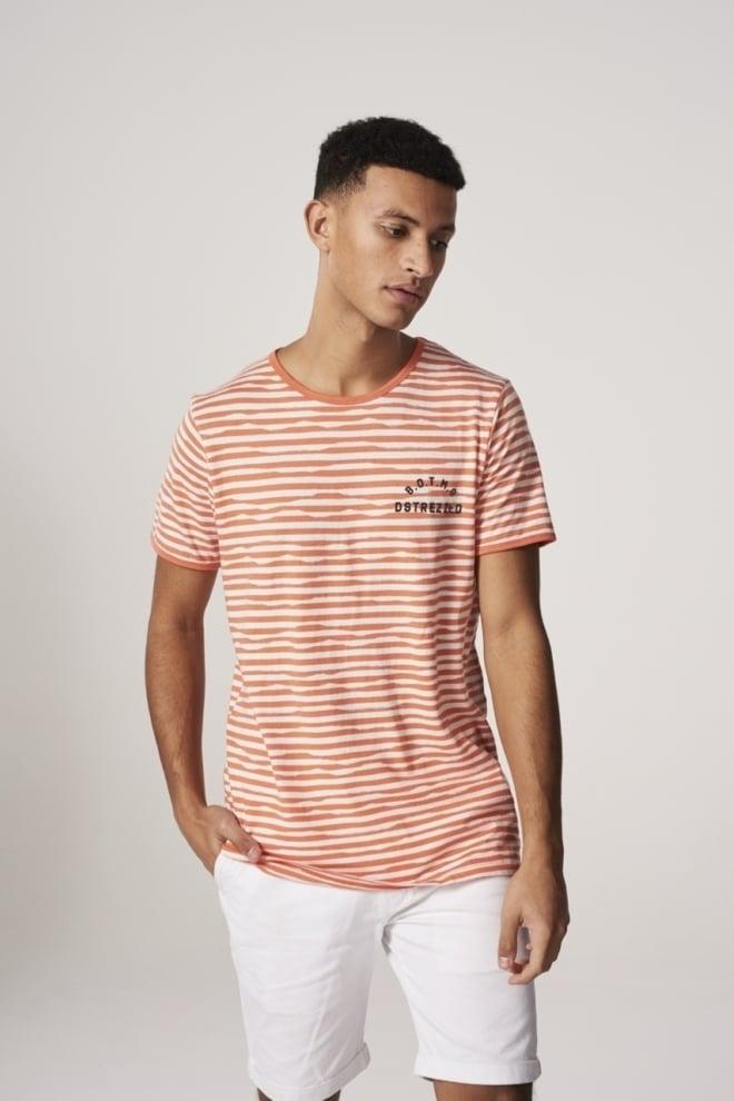 Dstrezzed boat neck irregulard jaquard shirt oranje/wit - Dstrezzed