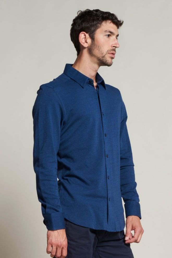 Dstrezzed gebreid jacquard overhemd blauw - Dstrezzed