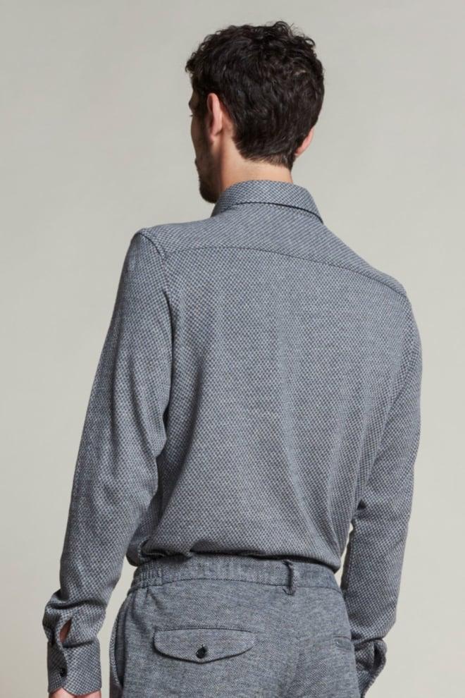 Dstrezzed gebreid jacquard overhemd donkergrijs - Dstrezzed