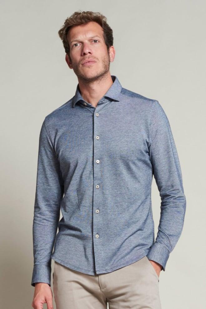 Dstrezzed pique overhemd donkerblauw - Dstrezzed