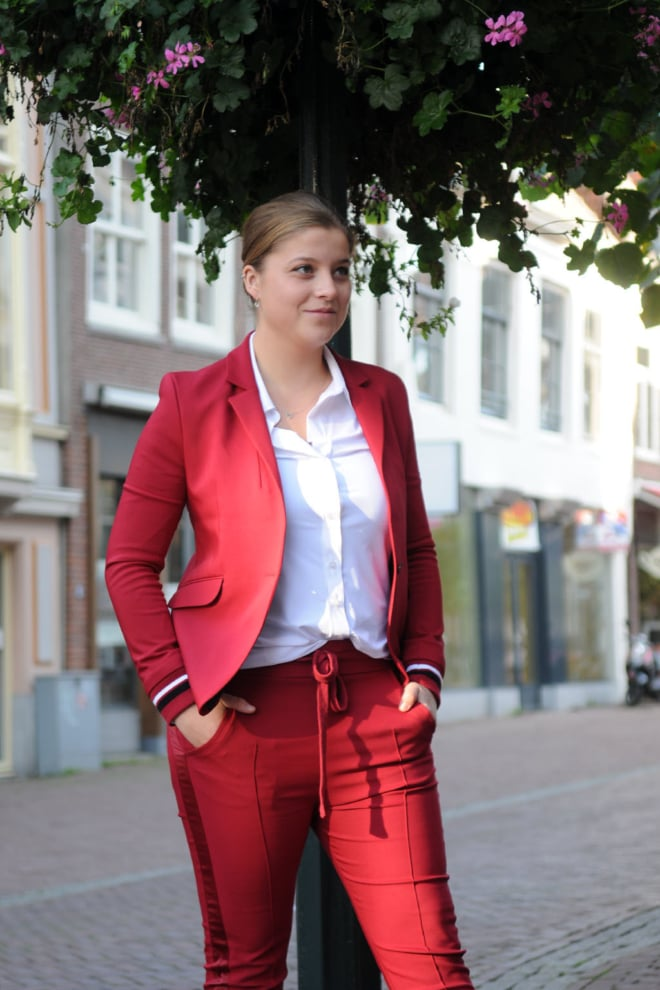 Elias rumelis leya ladies blazer with rib cuffs red - Elias Rumelis
