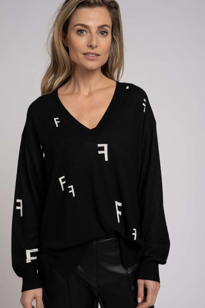 Fifth house patsy all-over logo trui zwart - Fifth House