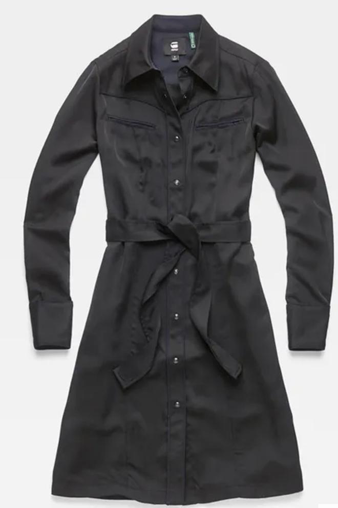 G-star raw tacoma straight flare shirt dress zwart - G-star Raw