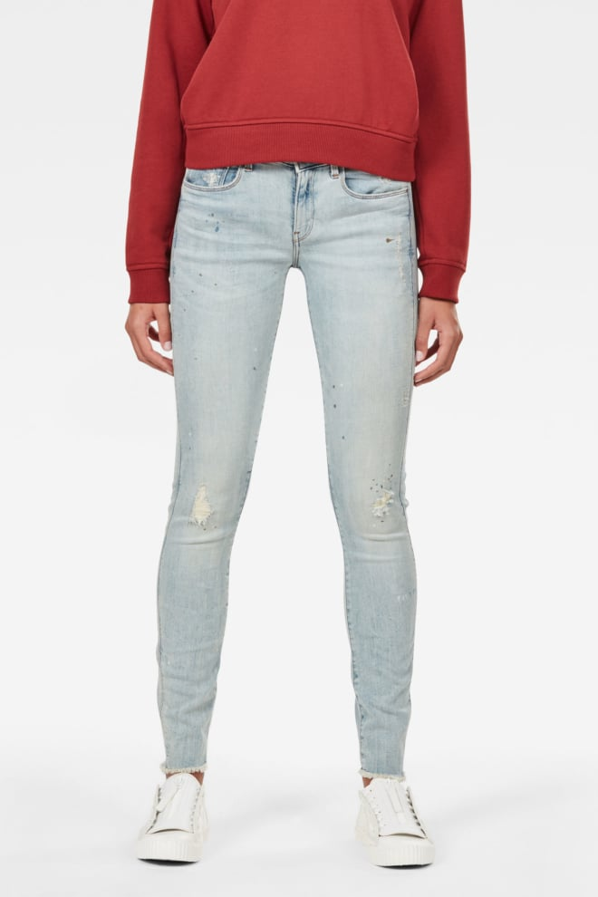 G-star raw 3301 deconstructed mid waist skinny jeans ripped light aged - G-star Raw