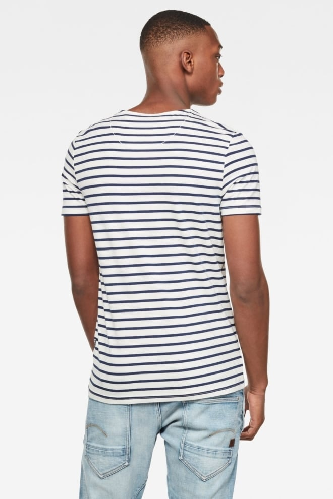 G-star raw xartto t-shirt wit/blauw gestreept - G-star Raw