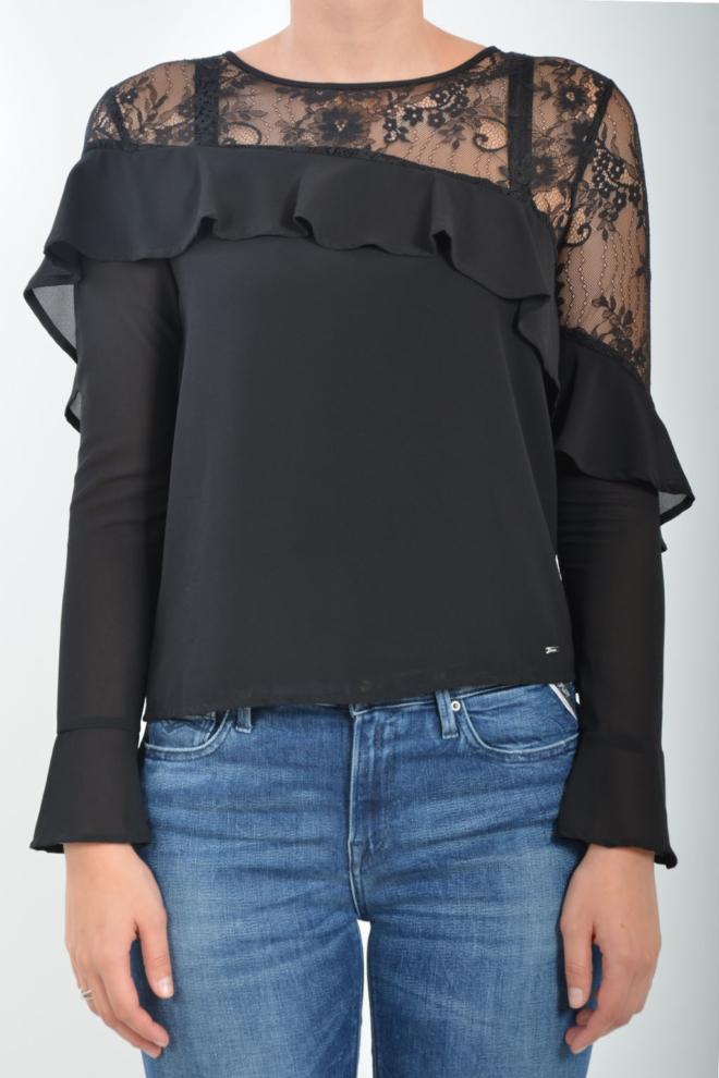 Gaudi ruffle blouse black - Gaudi