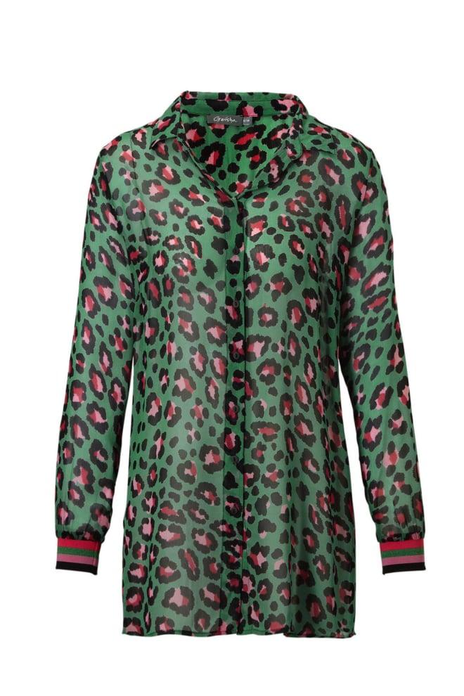 Geisha top green pink - Geisha