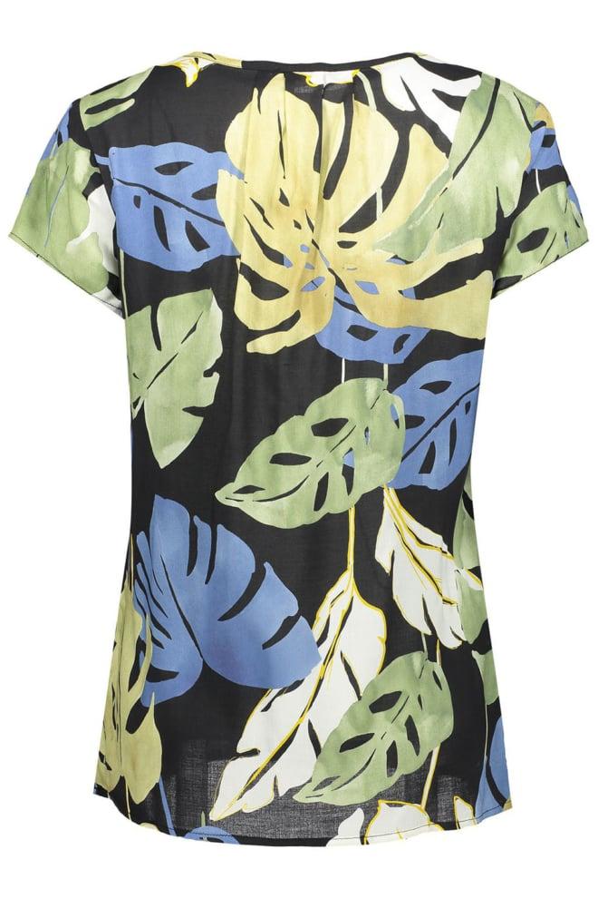 Geisha lurex t-shirt aop leaves zwart - Geisha