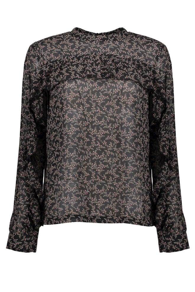 Geisha ruffle blouse met bloemenprint zwart - Geisha