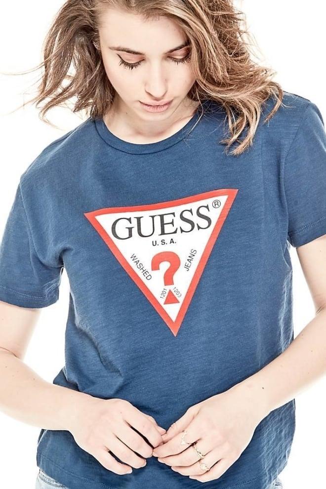 Guess classic triangle logo shirt blue - Guess