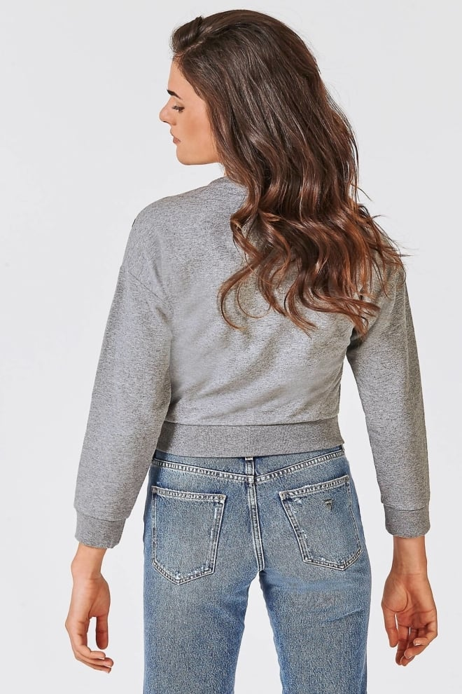 Guess cropped fleece sweater grey - Guess