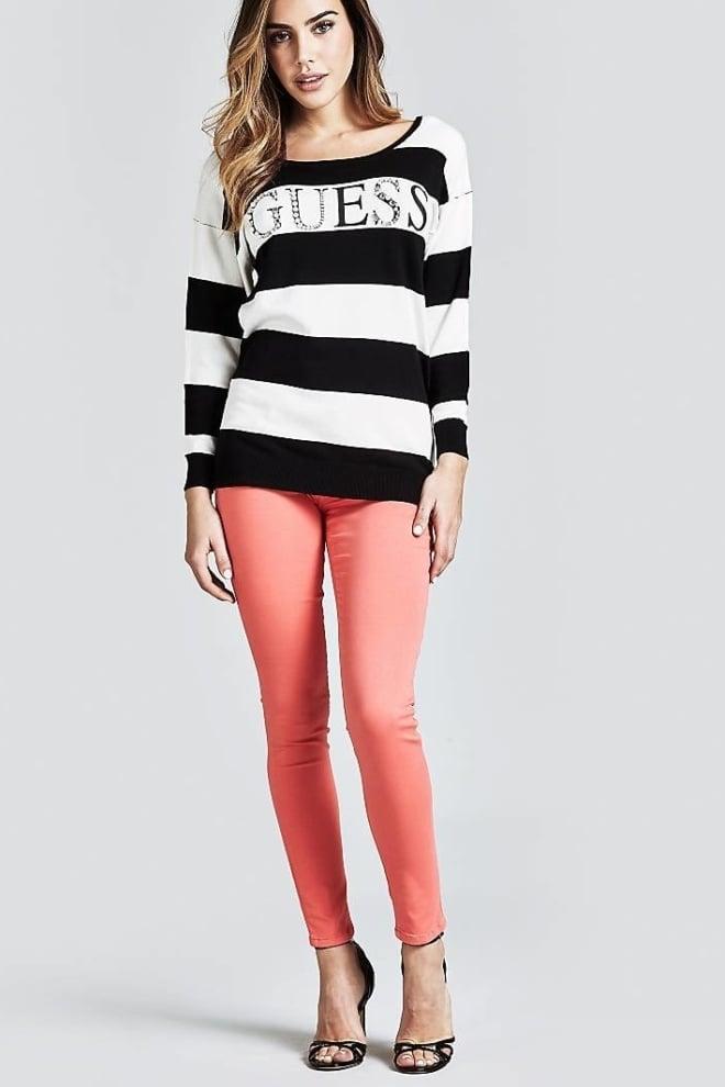 Guess guia sweater zwart/wit - Guess