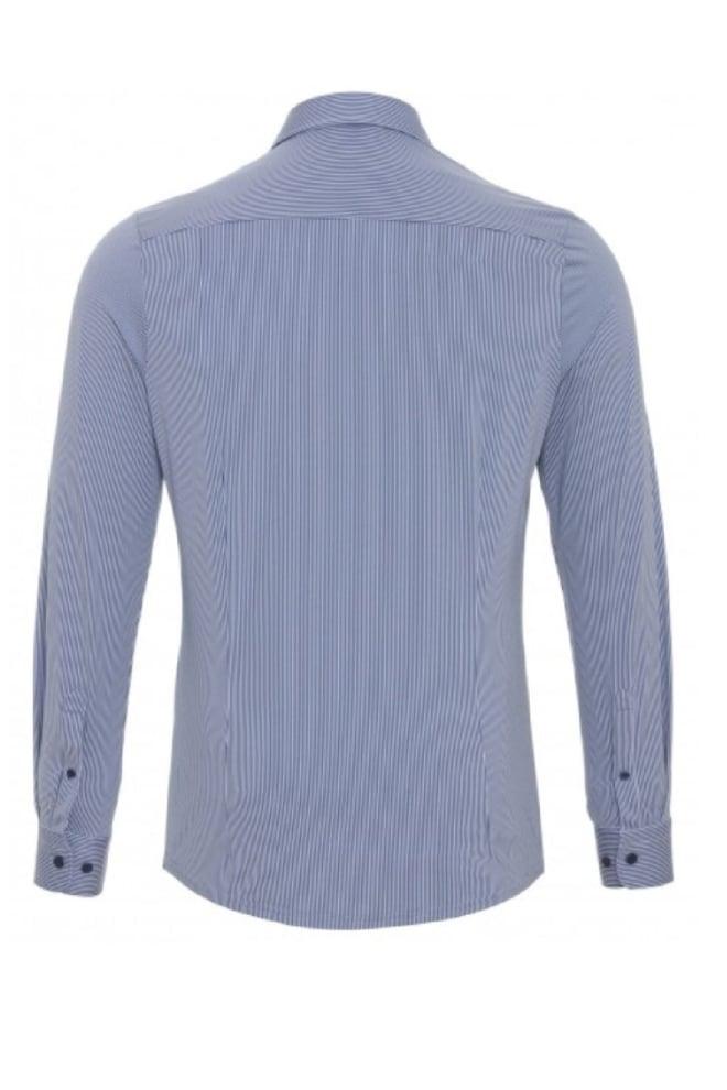 Pure-hatico functional overhemd blauw met wit gestreept - Pure-hatico