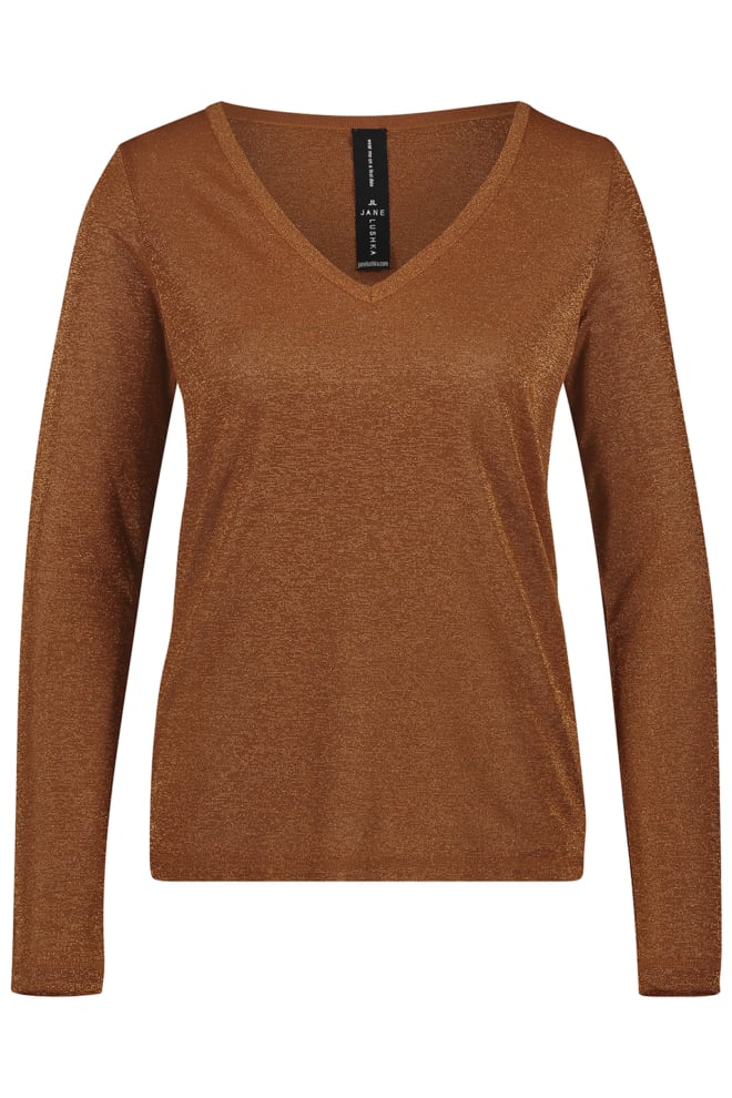 Jane lushka grace v-neck t-shirt cognac - Jane Lushka