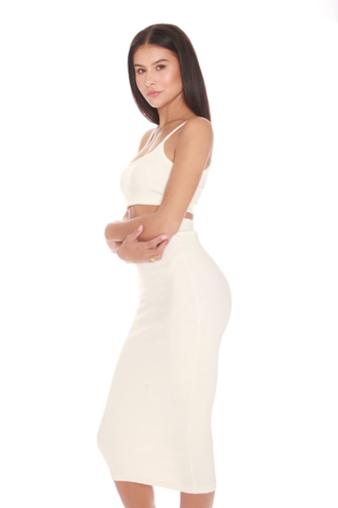 La sisters ribbed midi two piece white - La Sisters