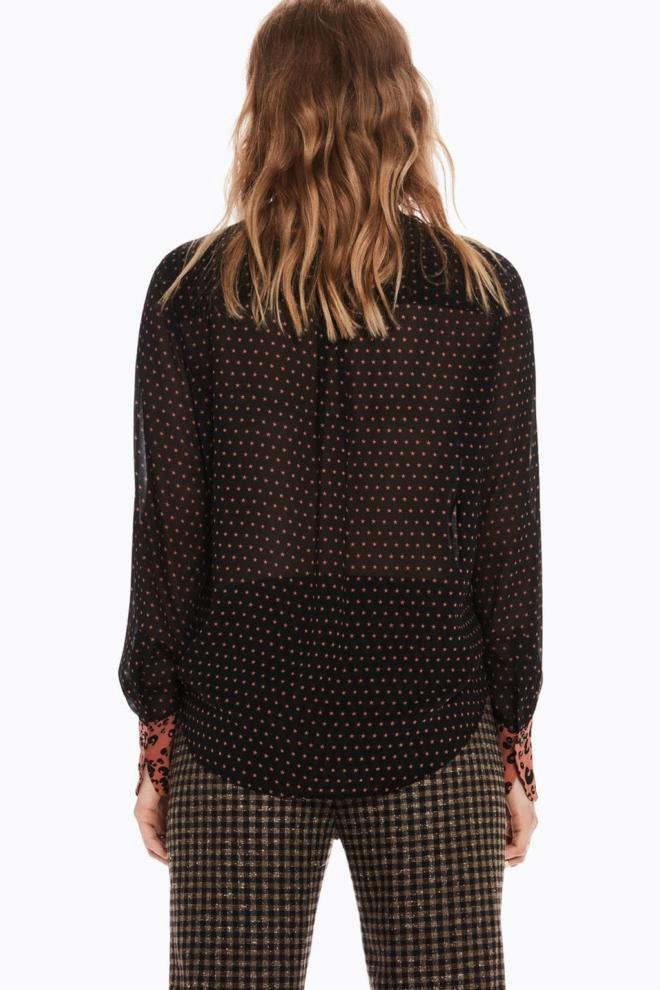 Maison scotch blouse met strik en prints black - Maison Scotch