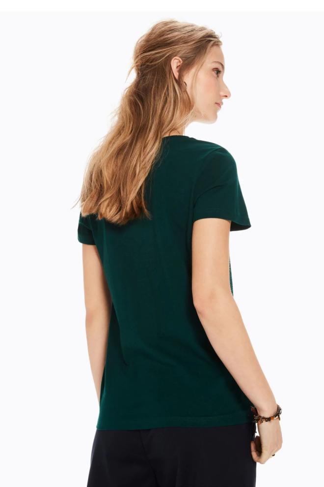 Maison scotch t-shirt met tekst-artwork bottle green - Maison Scotch