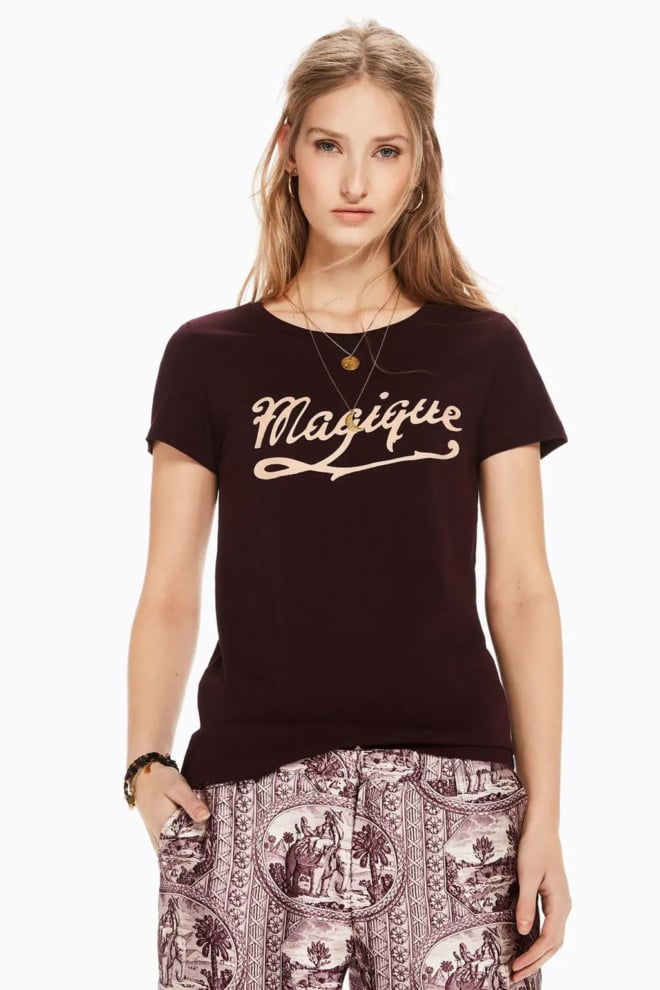 Maison scotch t-shirt met tekst-artwork wine - Maison Scotch
