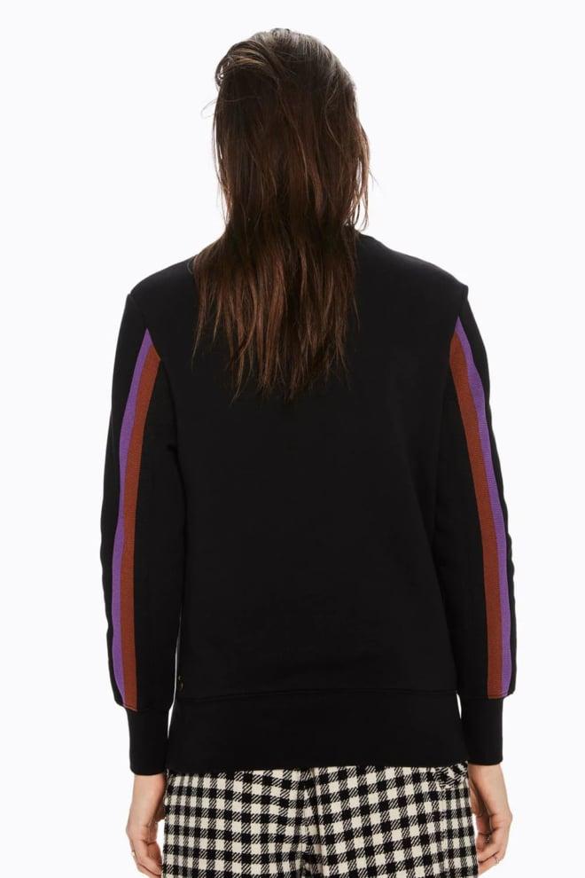 Maison scotch sweater met applique tekst-artwork black - Maison Scotch