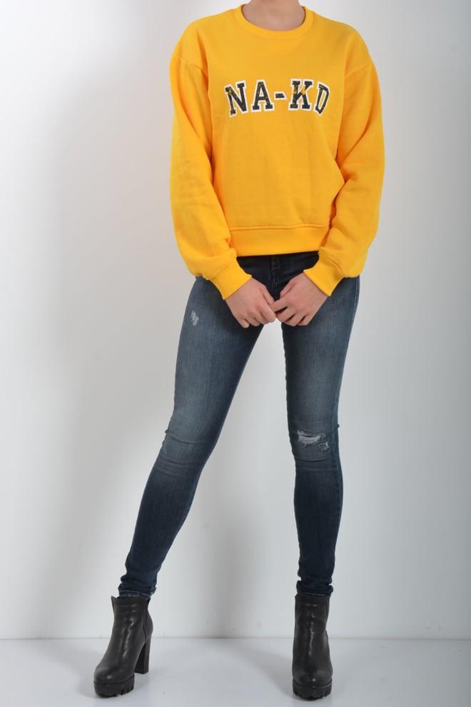 Na-kd sweatshirt logo yellow - Na-kd