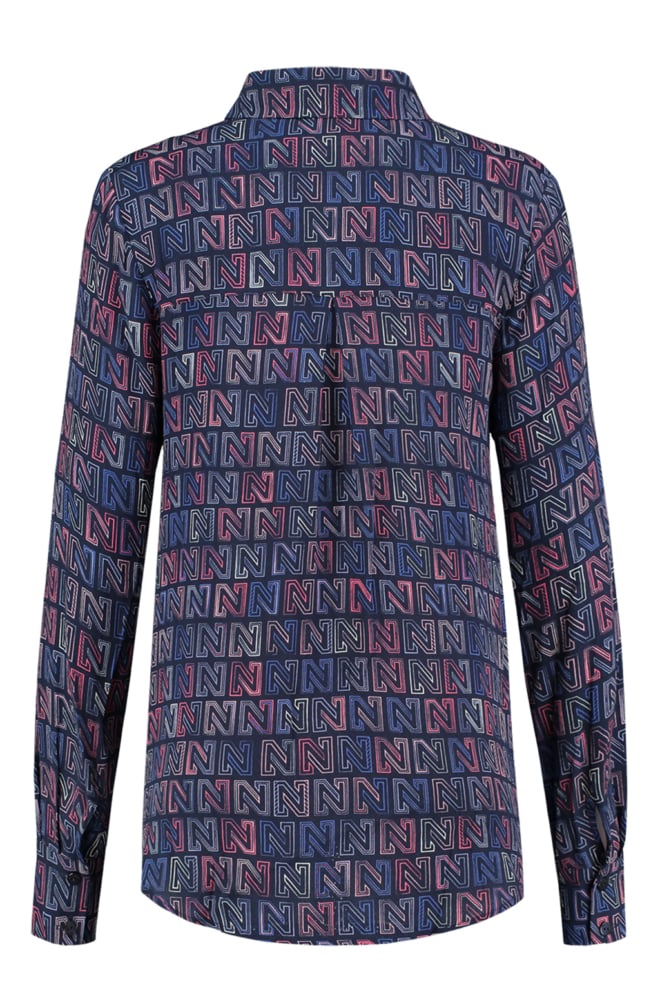 Nikkie logomania blouse navy - Nikkie