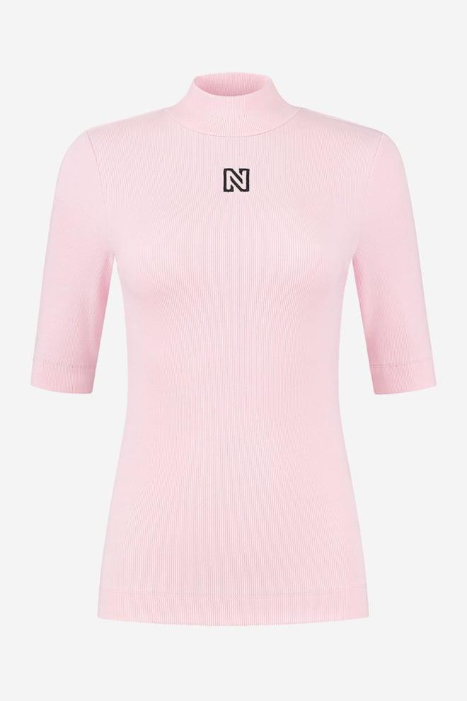 Nikkie rib top turtle neck pink - Nikkie