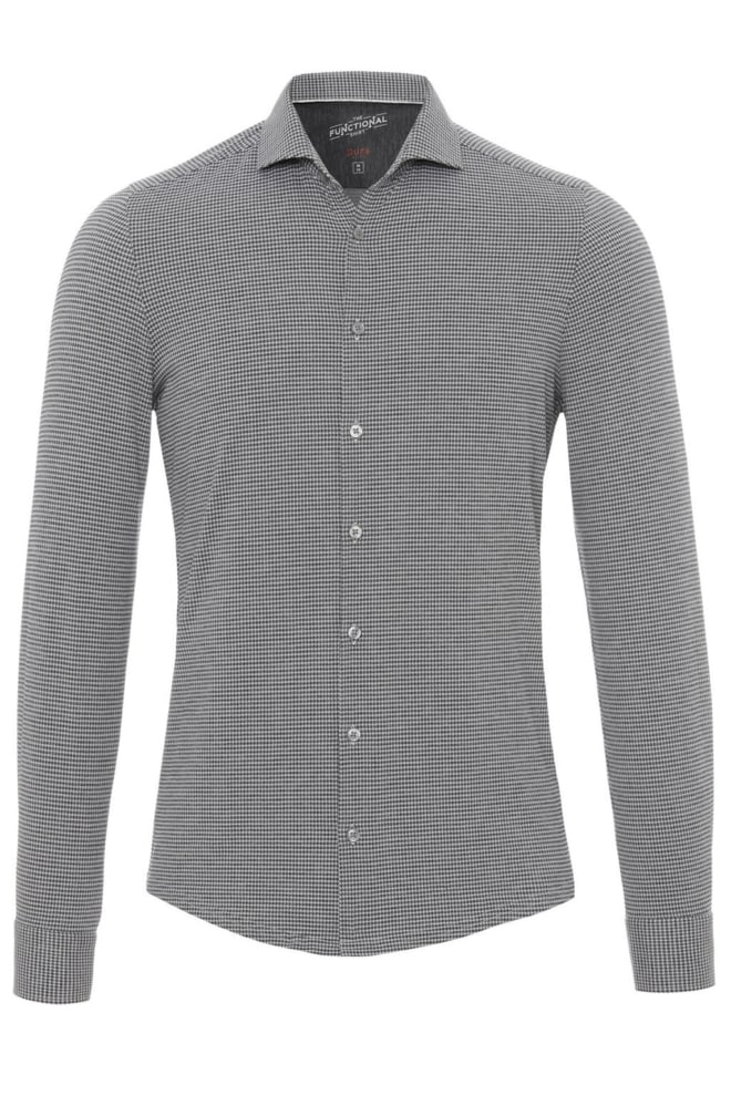 Pure hatico functional overhemd grijs geruit - Pure-hatico