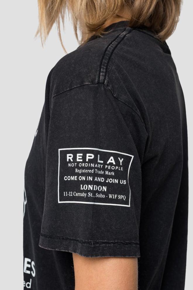 Replay broken promise t-shirt zwart - Replay