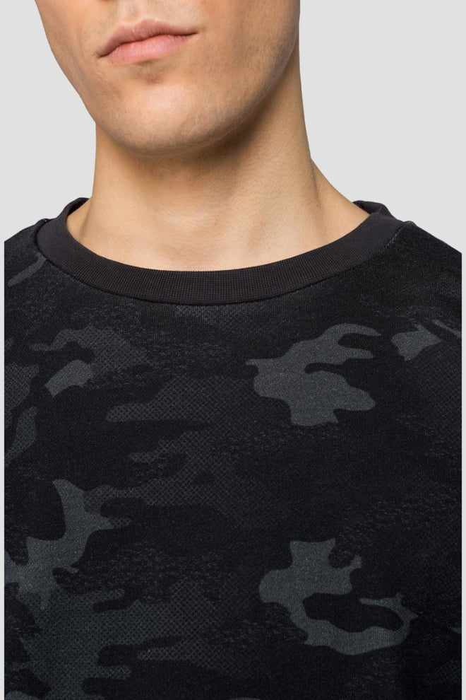 Replay camouflage crewneck sweater zwart - Replay