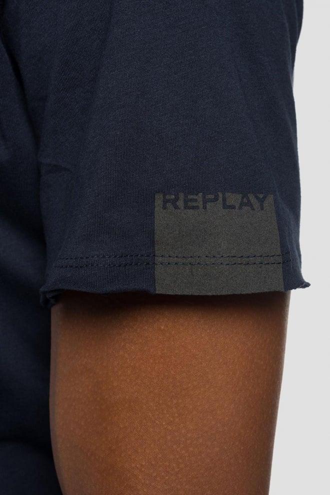 Replay raw cut v-neck t-shirt blauw - Replay