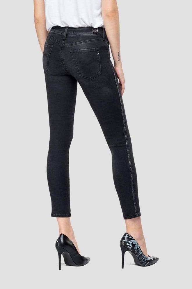 Replay skinny hyperflex luz jewel jeans zwart - Replay