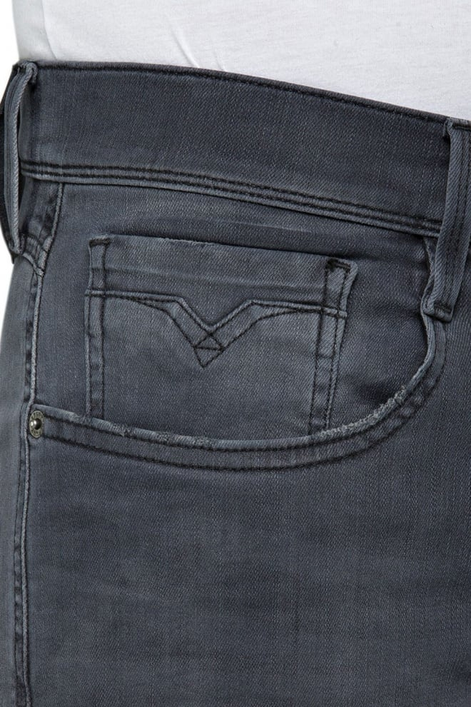 Replay slim fit jeans donkergrijs - Replay