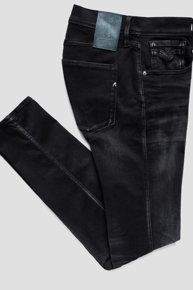 Replay anbass re-used hyperflex jeans zwart - Replay