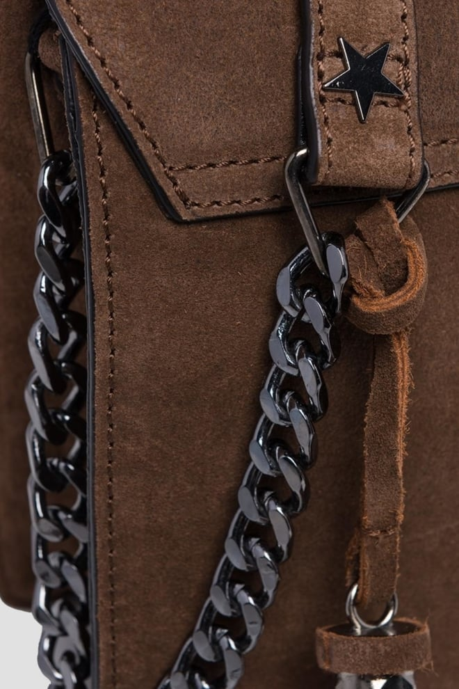 Replay sude leathers shoudertas bruin - Replay