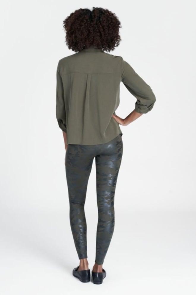 Spanx faux leather camo legging groen - Orobluandspanx