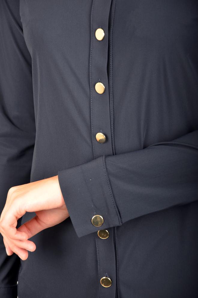 Studio anneloes poppy gold button blouse dark blue - Studio Anneloes