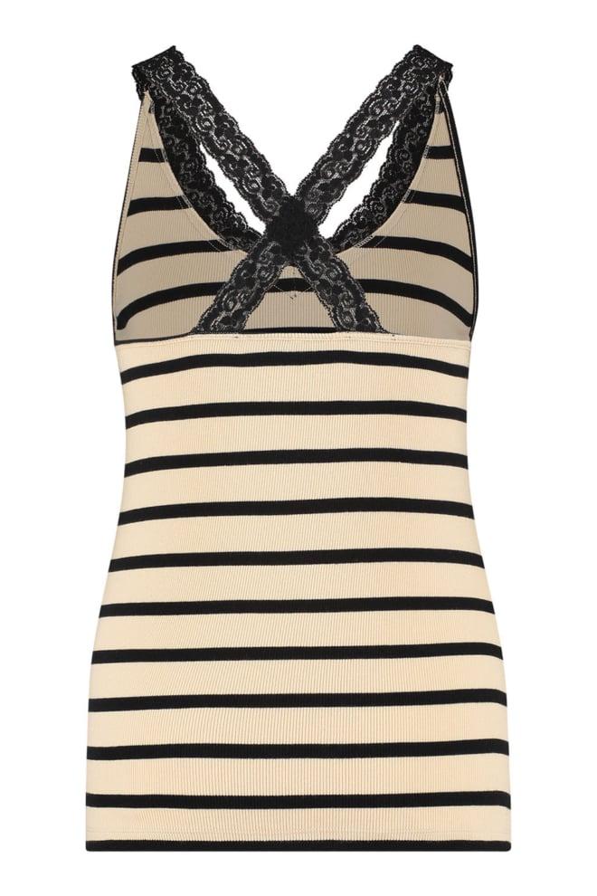 Studio anneloes rosie stripe lace singlet sahara black - Studio Anneloes