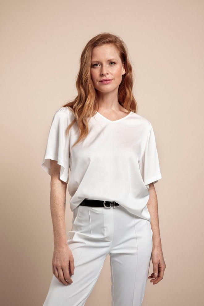 Studio anneloes ella 2way satin shirt off white - Studio Anneloes