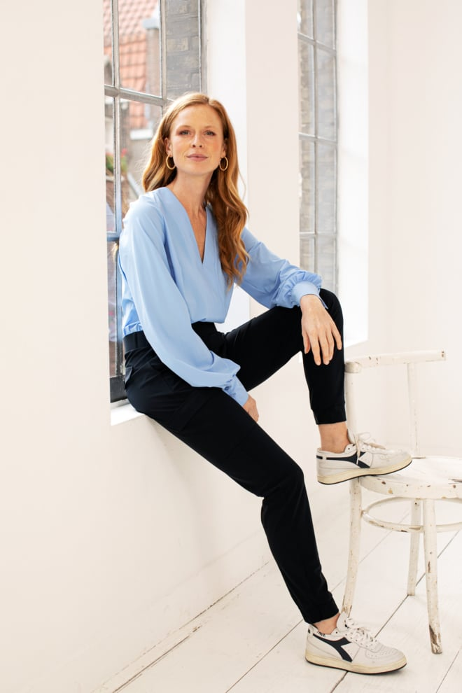 Studio anneloes loose cargo trousers donkerblauw - Studio Anneloes