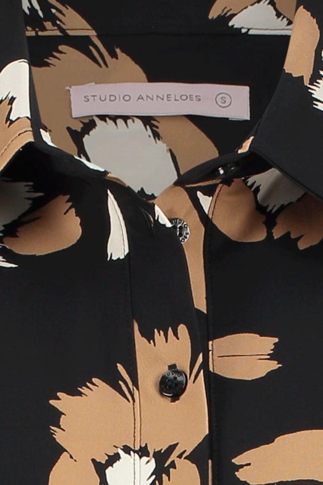 Studio anneloes poppy flower shirt 3/4 black - Studio Anneloes