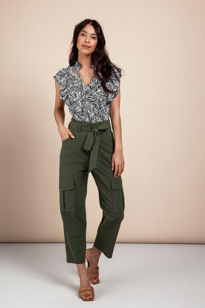Studio anneloes river leaf blouse wit/groen - Studio Anneloes