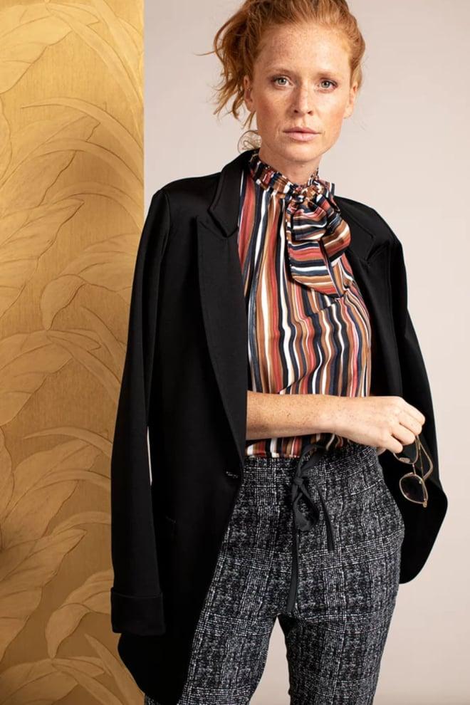 Studio anneloes iris sl book print blouse camel/black - Studio Anneloes