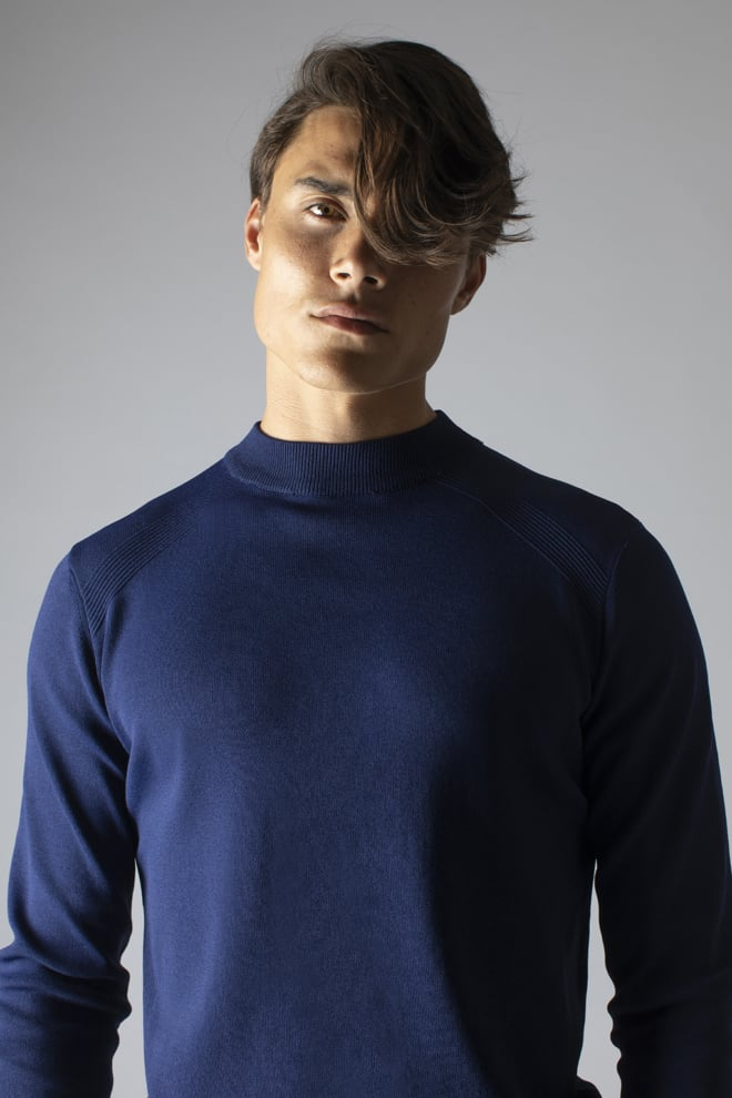 Sustain reverse crew neck knit blue - Sustain
