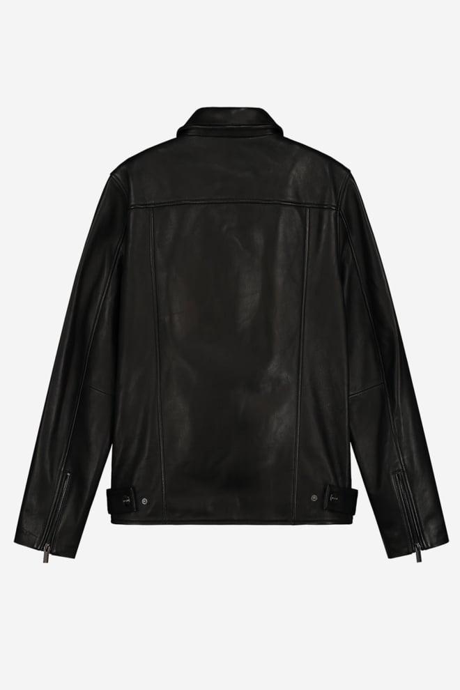Sustain embossed leather jacket zwart - Sustain