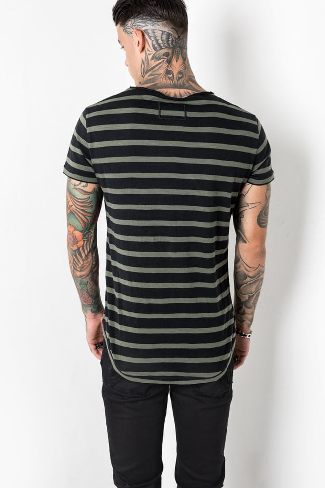 Tigha leno stripes t-shirt green/black - Tigha