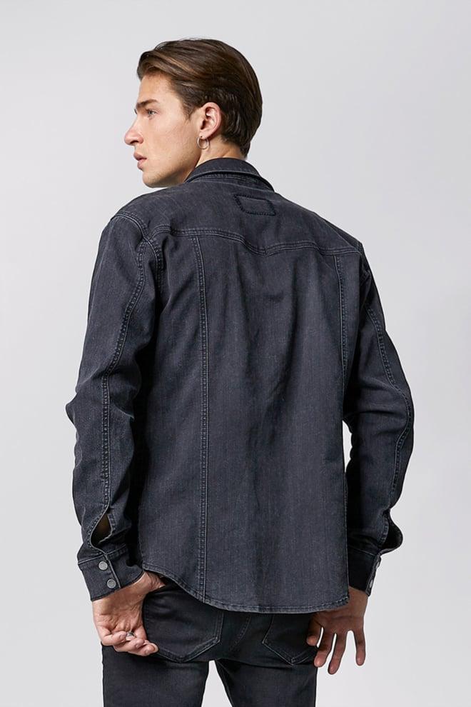 Tigha browly 7295 denim overhemd zwart - Tigha