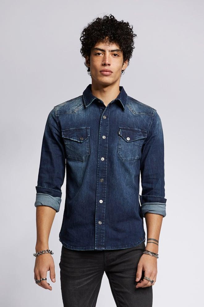Tigha fred 6866 denim overhemd blauw - Tigha