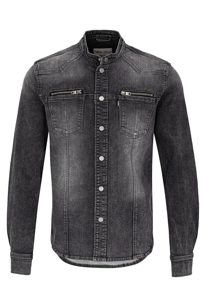 Tigha freddy biker overhemd vintage black - Tigha